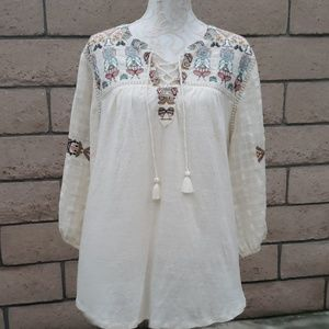 Lucky brand long sleeve flowy blouse